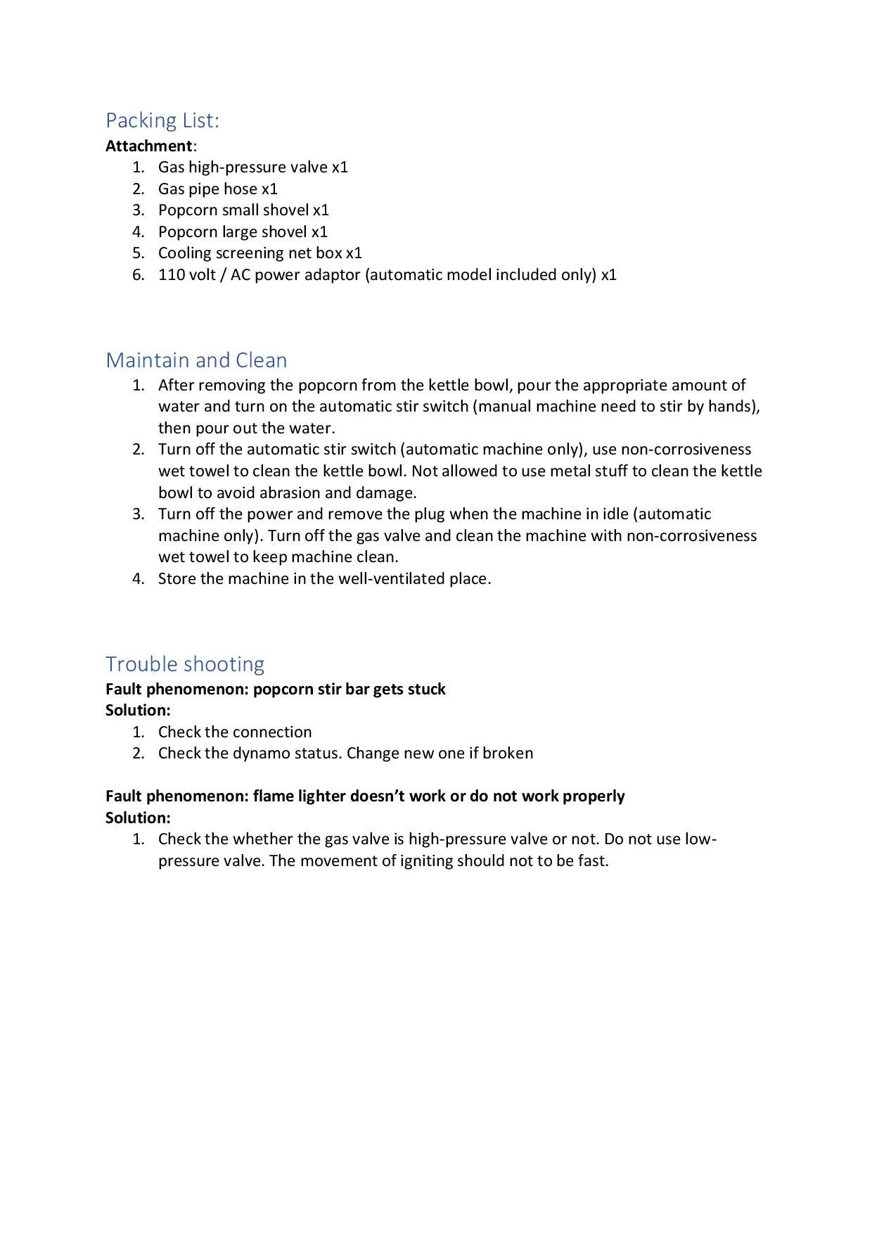 Kettle Corn Poppers Specification Instru